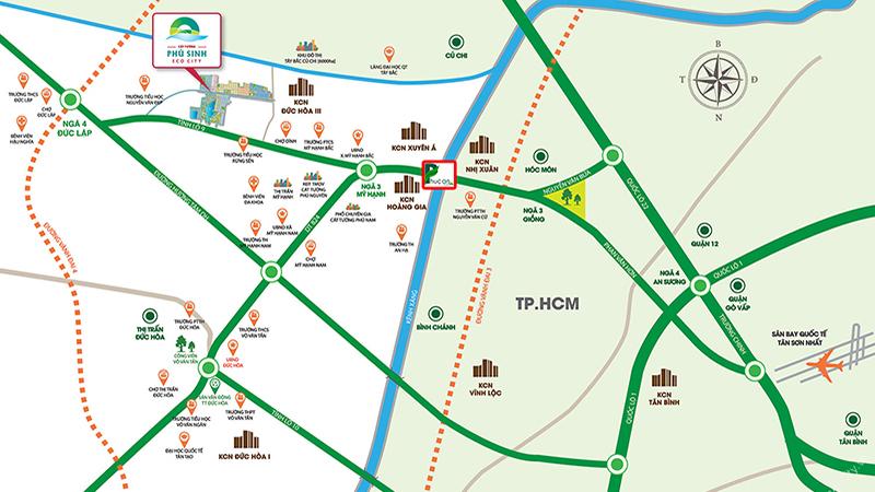 Bản đồ đường đi dự án Phúc An Garden